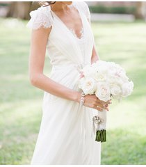 stunning a-line lace v-neck cap sleeves chiffon white wedding dress,bridal dress