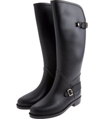 botas de lluvia impermeable horse riding bottplie - negro