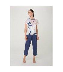 pijama feminino manga curta com calça