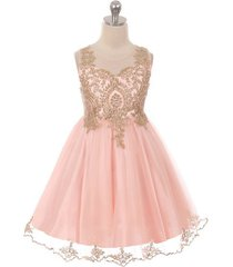 blush satin stretchable tulle bodice golden pattern gold rhinestone girl dress