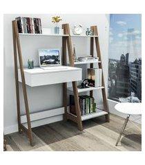 kit escritório completo appunto urban 5 prateleiras branco e castanho