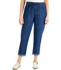 karen scott cotton cuffed pull-on denim capri pants, created for macy's