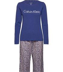 l/s pant set pyjamas blå calvin klein