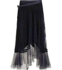 chloé laced detail bow-tied skirt