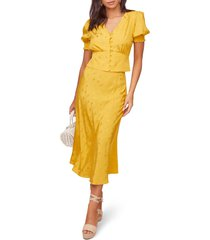 women's astr the label nava midi skirt, size large - yellow