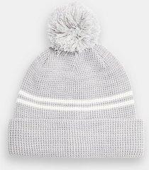 mens blue light gray stripe bobble hat