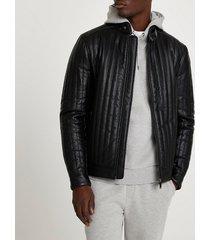 river island mens black faux leather panelled racer jacket