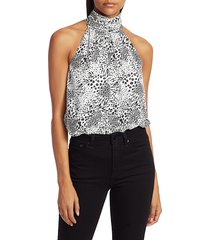 joie women's erola animal print halter top - caviar - size xl