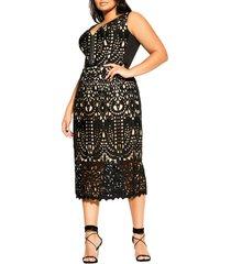 plus size women's city chic all class sleeveless sheath dress, size small - black