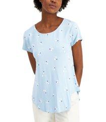 alfani petite printed scoop-neck t-shirt, created for macy's