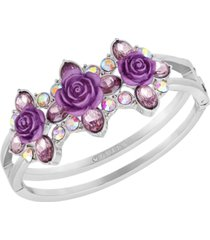 guess silver-tone crystal & rose double-row bangle bracelet