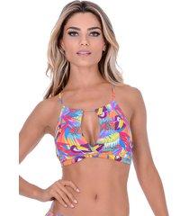 top summer soul cropped frente única com bojo tucano colorido