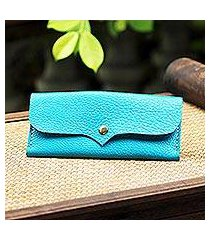 leather wallet, 'simple traveler in teal' (thailand)