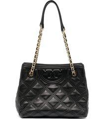 tory burch diamond-quilt shoulder bag - black