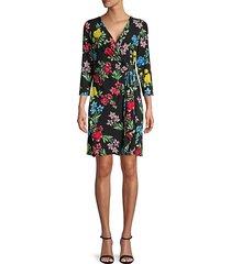 floral faux-wrap sheath dress