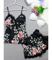 conjunto de pijama de tirantes finos con cuello en v y estampado floral al azar de encaje