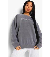 oversized overdye stockholm sweater, charcoal