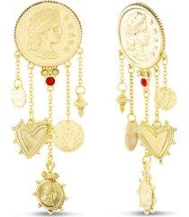 steve madden figure coin dangle post earring in yellow goldtone alloy
