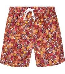 kiton tile-print swim shorts - yellow
