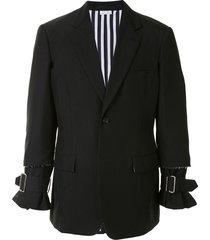 comme des garçons homme plus raw edge blazer jacket with buckle detail