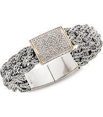 sterling silver & diamond belt bracelet
