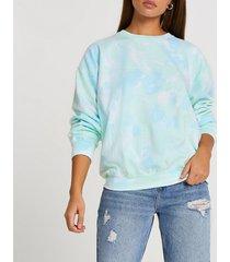 river island womens blue tie dye long sleeve sweatshirt