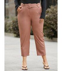 pantalones de diseño de cinturón caqui de talla grande yoins