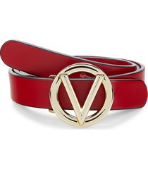 valentino by mario valentino women's v-logo leather belt - lipstick red - size m
