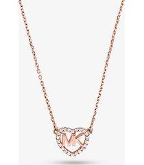 mk collana con logo a forma di cuore in argento sterling placcato in metallo prezioso - oro rosa (oro rosa) - michael kors
