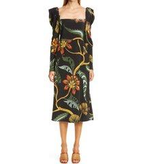 women's johanna ortiz floral print puff shoulder silk midi dress, size 0 - black