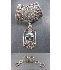 us seller-scarf pendant slides skull pendant slider scarf ring