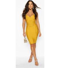 boutique bandage tie detail mini dress, mustard