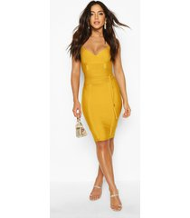 boutique bandage tie detail mini dress, mustard
