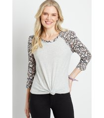 maurices womens 24/7 gray floral puff sleeve baseball tee