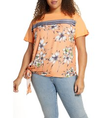 plus size women's single thread hawaii border print top, size 2x - orange