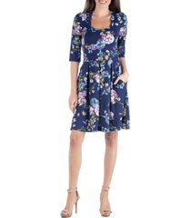 24seven comfort apparel floral print fit and flare mini dress