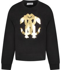 roberto cavalli black girl sweatshirt with gold logo