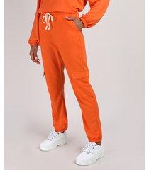 calça de moletom feminina cargo cintura média cós com elástico e cordão laranja