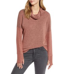 women's loveappella cowl french terry pullover, size x-small - red
