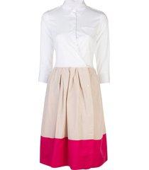 sara roka color-block flared shirt dress - white