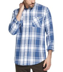 weatherproof vintage men's indigo blues plaid shirt
