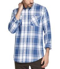 weatherproof vintage men's indigo blues plaid shirt