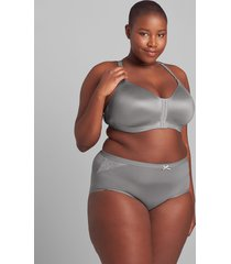lane bryant women's no-show full brief panty with lace 34/36 frost gray