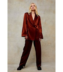 bronze satin relaxed suit blazer jacket - bronze