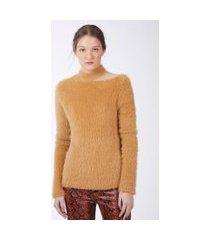 blusa de tricot furry abertura no ombro mostarda
