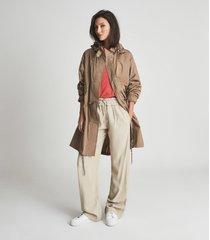 reiss clo - lightweight parka jacket in camel, womens, size xl
