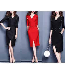 elegant mid-length dress half-sleeve lapel v neck women dress spring