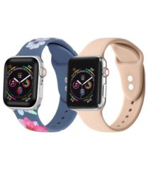 unisex light blue floral and light pink 2-pack replacement band for apple watch, 38mm