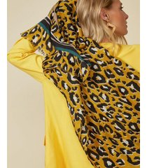 amaro feminino lenço animal print com listras, onca parda