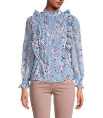walter baker women's floral ruffle long-sleeve blouse - laguna blossom - size l